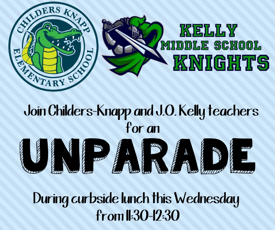 THIS WEDNESDAY 11:30-12:30 - CKE and J.O. Kelly teachers will line the drive at J.O. Kelly and wave as families get lunches. WE CAN'T WAIT TO SEE YOU!❤