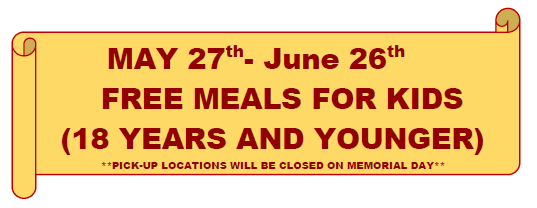 Free meals for kids May 27 - June 26