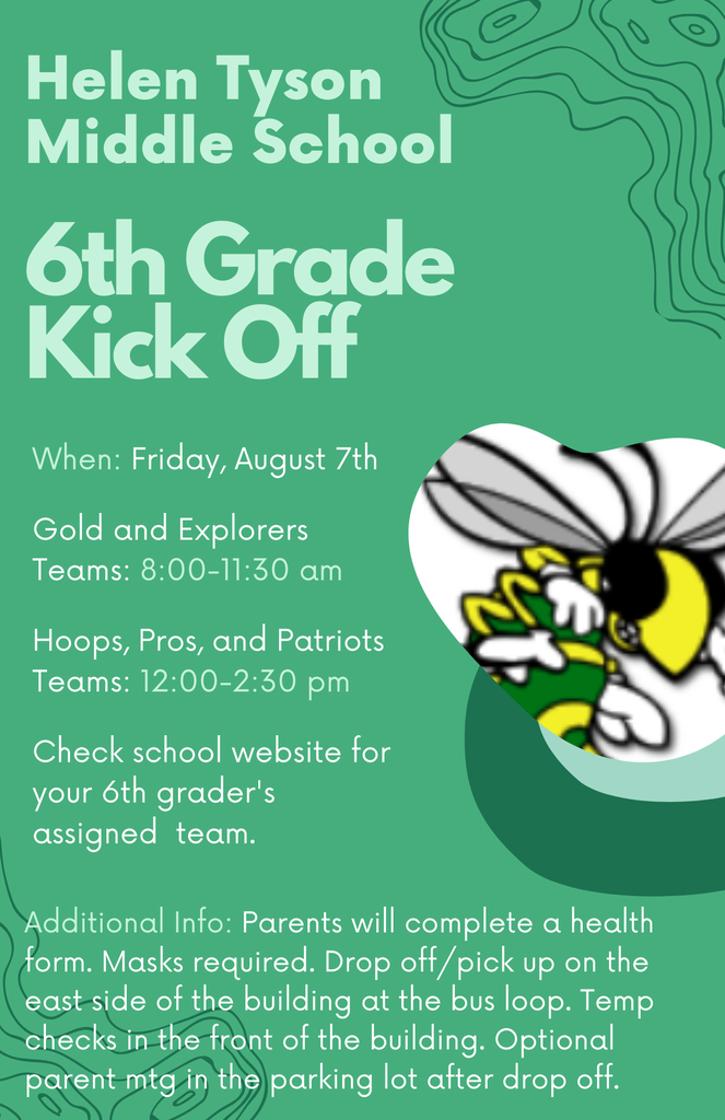 Kick Off for ALL HTMS 6th Graders - Back to School Event 💚🐝
