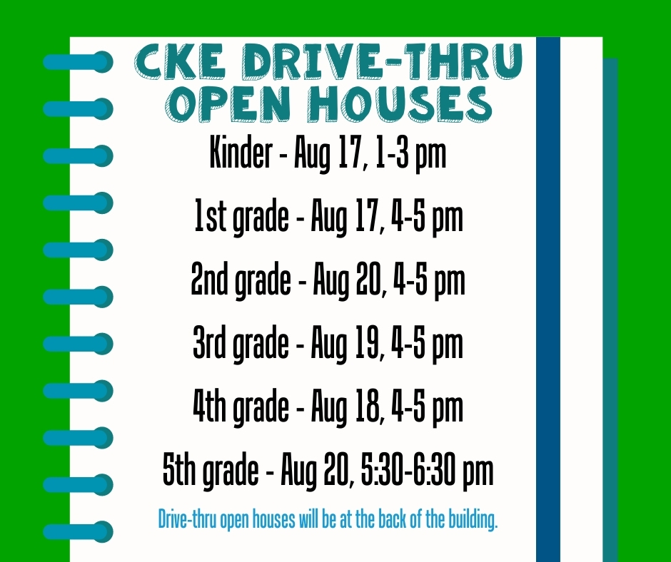 We are so excited to get back to school and see our gators! We will be having drive-thru open houses for each grade level behind the school on the following days: