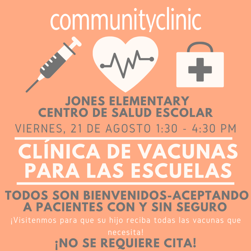 Community Clinic will be hosting a Vaccine Clinic THIS Friday, August 21 from 1:30 - 4:30 at the Wellness Center at Jones Elementary. All children - with or without insurance including private insurance and Medicaid are welcome to attend and appointments are not required.